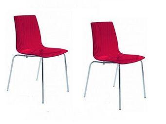 WHITE LABEL - lot de 2 chaises calima empilable design rouge - Chaise