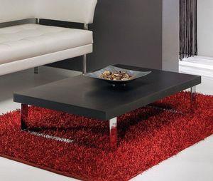 WHITE LABEL - table basse metropolis design wengé 110 cm - Table Basse Rectangulaire