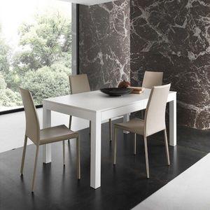 WHITE LABEL - table repas extensible ermes blanche - Table De Repas Rectangulaire