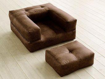 WHITE LABEL - fauteuil cube 3 en 1 futon aspect cuir vintage cho - Fauteuil Et Pouf