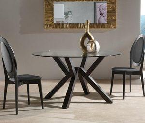 WHITE LABEL - table repas teorema en verre design wengé 120 cm - Table De Repas Ronde