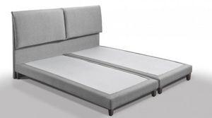 WHITE LABEL - lit design haut de gamme balzac 140*190 cm tissu t - Lit Double