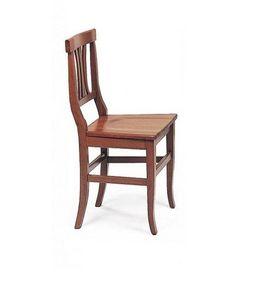 WHITE LABEL - chaise vecchio vaneto design noyer assise en bois - Chaise