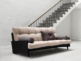 WHITE LABEL - canapé noir 3/4 places convertible indie futon tau - Canapé 3 Places