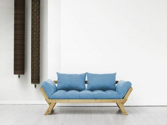 WHITE LABEL - banquette méridienne pin massif miel futon azur be - Méridienne