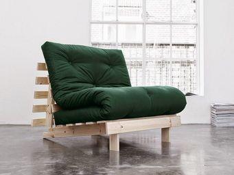 WHITE LABEL - fauteuil bz style scandinave roots futon vert couc - Fauteuil