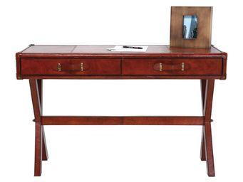 Kare Design - bureau en cuir console lodge 120x46 cm - Bureau
