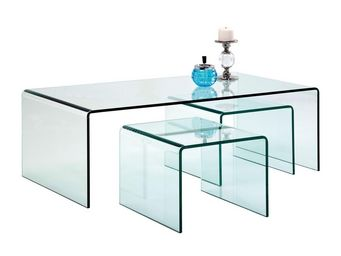 Kare Design - table basse transparente clear club 3/set - Table Basse Rectangulaire