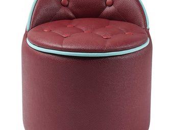 Kare Design - tabouret buttone storage rouge - Tabouret