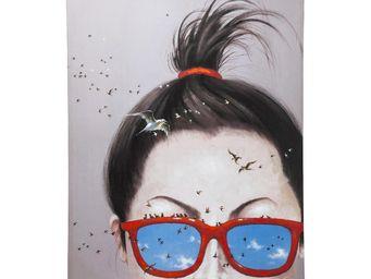Kare Design - tableau touched lady with birds 160x120 - Tableau Décoratif