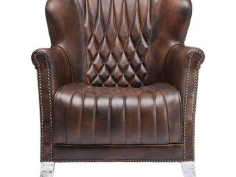 Kare Design - fauteuil design captain marron - Fauteuil