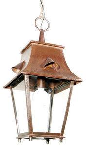 Lanternes D'autrefois - Vintage Lanterns - lanterne saumur à suspendre en fer forgé 34x34x70c - Lanterne D'extérieur