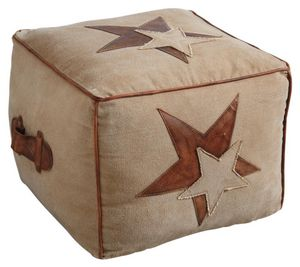 Aubry-Gaspard - pouf stars en coton et cuir - Pouf