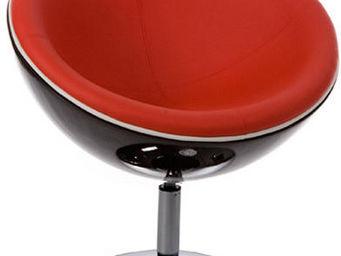 KOKOON DESIGN - fauteuil moon en similicuir rouge et coque abs noi - Fauteuil Rotatif