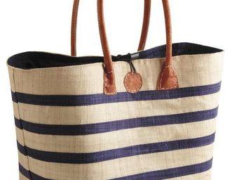 Aubry-Gaspard - sac de marché marinière en rabane - Cabas