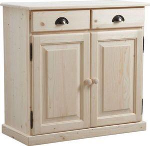Aubry-Gaspard - buffet en bois brut 2 portes 2 tiroirs - Buffet Bas