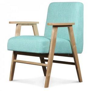 Demeure et Jardin - fauteuil design scandinave tissu tweed bleu turquo - Fauteuil