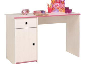WHITE LABEL - bureau 1 porte 1 tiroir pin blanc - oggy - l 122 x - Fauteuil Enfant