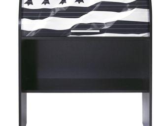 WHITE LABEL - bureau cylindre à rideau noir - curtys n°2 - l 85  - Bureau Enfant