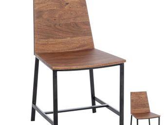 WHITE LABEL - duo de chaises bois naturel et métal - patchouli - - Chaise