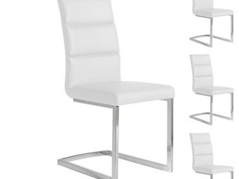 WHITE LABEL - quatuor de chaises eco-cuir blanc - loni - l 45 x  - Chaise
