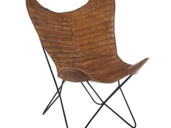 WHITE LABEL - chaise lounge marron - hoha - l 75 x l 87 x h 86 - - Chaise