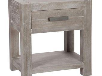 WHITE LABEL - table de chevet 1 tiroir - leon - l 40 x l 40 x h  - Table De Chevet