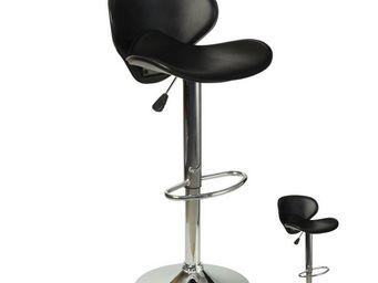 WHITE LABEL - duo de tabourets de bar noir - flyn - l 54 x l 44  - Chaise Haute De Bar