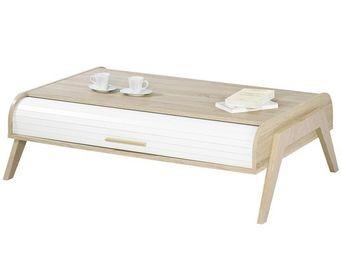 WHITE LABEL - table basse à rideau - arkos n°5 - l 119 x l 80 x  - Table Basse Rectangulaire
