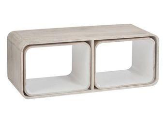 WHITE LABEL - table basse 3 parties bois/blanc - metro - l 120 x - Table Basse Rectangulaire
