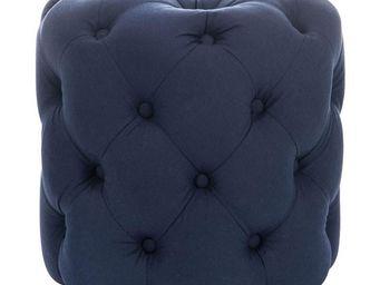 WHITE LABEL - pouf rond capitonné bleu - cappy - l 45 x l 45 x h - Pouf