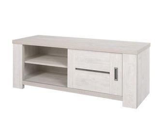 WHITE LABEL - meuble tv 1 porte coulissante - oji - l 130 x l 47 - Meuble Tv Hi Fi
