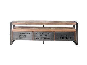 WHITE LABEL - meuble tv en bois 3 tiroirs - industry - l 160 x l - Meuble Tv Hi Fi
