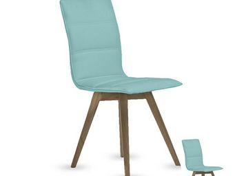 TOUSMESMEUBLES - duo de chaises simili cuir turquoise - kano - l 43 - Chaise