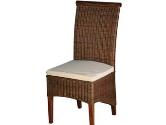 WHITE LABEL - chaise rotin coussin - leia - l 48 x l 57 x h 105  - Chaise