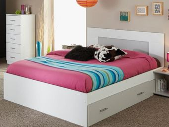 TOUSMESMEUBLES - cadre de lit � tiroir + t�te de lit 140*190 blanc  - Lit Double