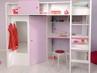 TOUSMESMEUBLES - lit sur�lev� 90*200 cm blanc/rose - miss - l 206 x - Lit Mezzanine Enfant
