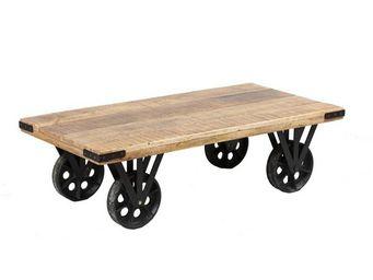 WHITE LABEL - table basse sur roues bois et acier - aglae - l 11 - Table Basse Rectangulaire
