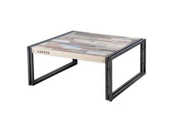 WHITE LABEL - table basse en bois 80 cm² - industry - l 80 x l 8 - Table Basse Carrée