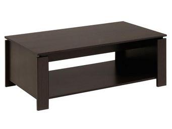 WHITE LABEL - table basse bois café - barry - l 108 x l 40 x h 5 - Table Basse Rectangulaire