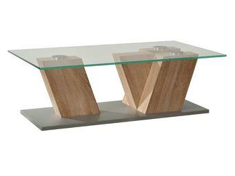WHITE LABEL - table basse plateau verre hêtre clair - luson - l  - Table Basse Rectangulaire