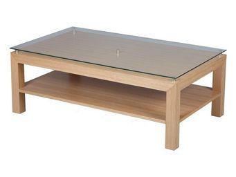 WHITE LABEL - table basse en bois de chêne - oaked - l 120 x l 7 - Table Basse Rectangulaire