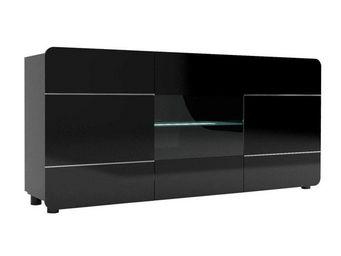 WHITE LABEL - buffet 3 portes 150 cm noir - mapp - l 151 x l 39  - Buffet Bas