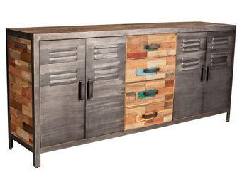 TOUSMESMEUBLES - buffet 4 portes 4 tiroirs - fabrik - l 200 x l 45  - Buffet Bas