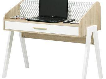 WHITE LABEL - bureau à rideau 1 tiroir - arkos n°1 - l 109 x l 5 - Bureau