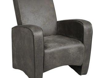 WHITE LABEL - fauteuil club gris - king - l 72 x l 68,5 x h 87 - - Fauteuil