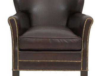WHITE LABEL - fauteuil club cuir marron foncé ressorts plats - h - Fauteuil