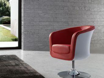 WHITE LABEL - fauteuil simili cuir rouge - bear - l 71 x l 64 x  - Fauteuil Rotatif