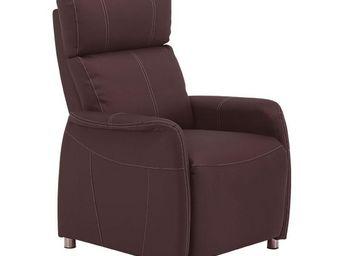 WHITE LABEL - fauteuil relax eco-cuir marron - lonis - l 78 x l  - Fauteuil