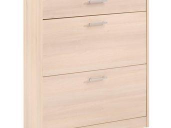 WHITE LABEL - meuble à chaussures 1 tiroir 2 abattants acacia cl - Meuble À Chaussures